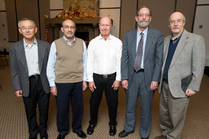 From left. Dr. Yong-Zhuo Chen, 25 years; Dr. Hashim A. Yousif, 25 years; Dr. Marvin Thomas, 45 years; Gary B. Tessmer, 25 years; and Dr. David S. Soriano, 30 years.