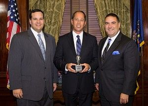 "Senator Joe Scarnati pictured in CENTER with the ""Guardian of Small Business"" award."