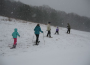 A group of snowshoers explore the land at the Pfeiffer Nature Center in Portville, N.Y