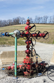 Valves and regulator on a gas well