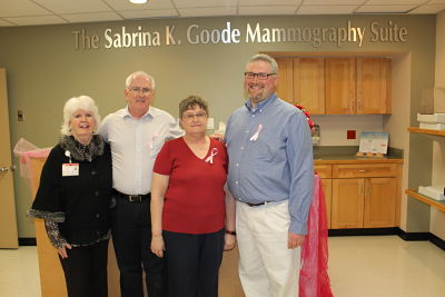 """Francie Ambuske, executive director at BRMC Foundation, left, stands with Sabrina Goode's family during a dedication ceremony Tuesday of the mammography suite named in her memory. From left, are Ambuske, Goode's parents, Robert """"Bucky"""" and Carol Thompson, and her husband, Jesse."""