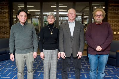 Faculty members being honored for 30 or more years of service at the University of Pittsburgh at Bradford. They are, from left, Jeff Guterman, Dr. Lisa Fiorentino, Dr. Ron Mattis and Dr. Warren Fass.
